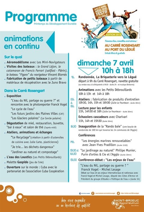 Programme du Dimanche 7 Avril 2013.