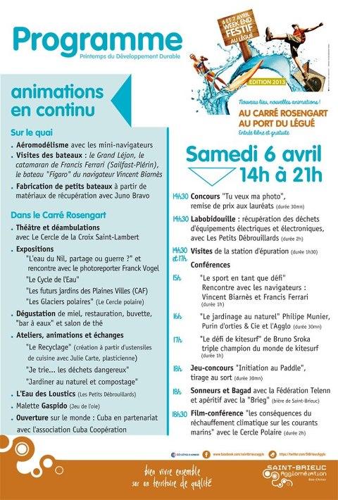 Programme du Samedi 6 Avril 2013.