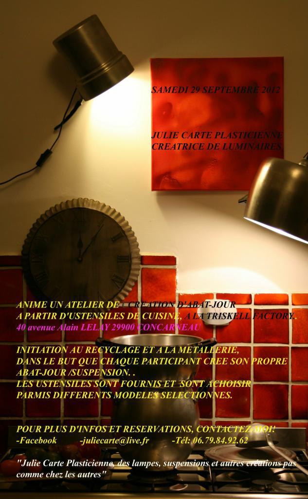 ATELIER CREATION D'ABAT-JOUR, SAMEDI 29 SEPTEMBRE 2012.